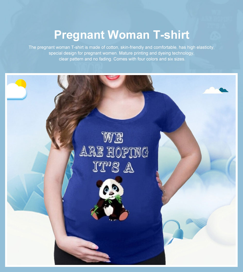 Pregnant Woman T-shirt Cotton Round-neck Multiple Colors Pandas Eat Bamboo Printing 2019 Hot Sales 0