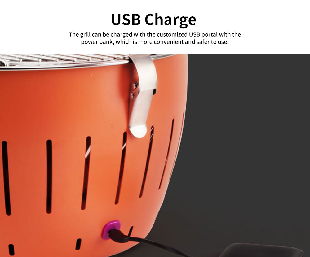 Adjustable Fine Stainless Steel Barbecue Grill Portable USB Charger Smoke-free Charcoal Korean BBQ Oven for Domestic Outdoor Use 4