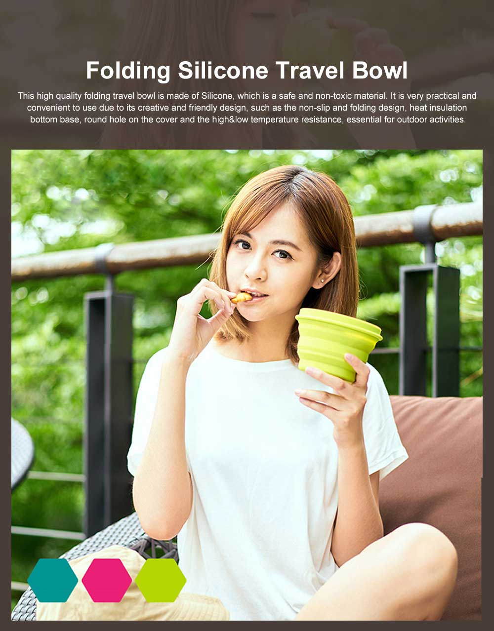 Folding Silicone Travel Bowl with Cover Portable Retractable Cup for Spring outing and Picnic 0
