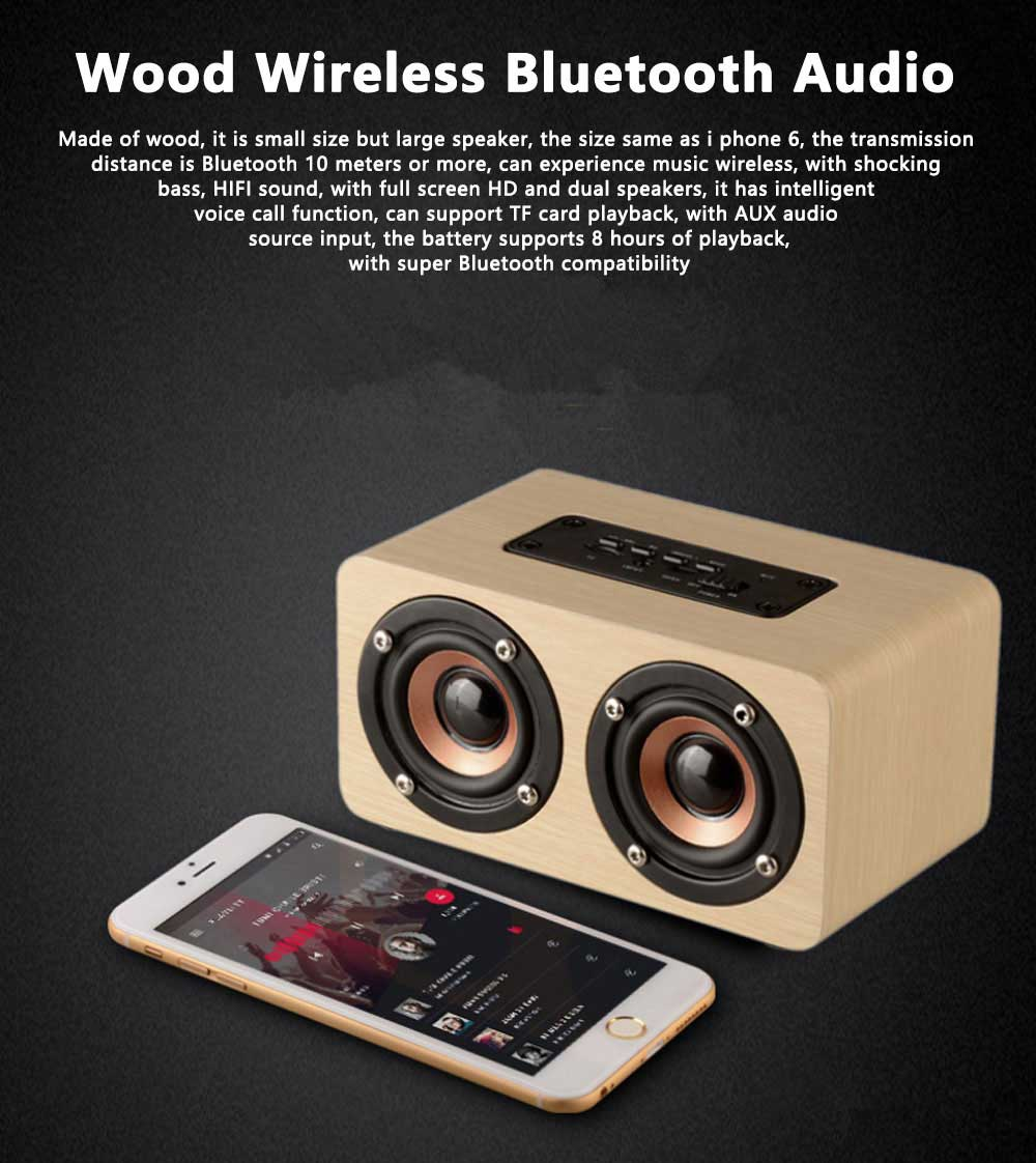 Outdoor Wood Pattern Wireless Bluetooth Speaker Portable Phone Computer Retro Radio Audio For Car Subwoofer Dual Speaker Support TF card 0