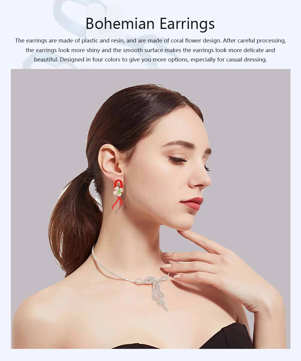 Bohemian Exaggerated Earrings Ear-drop Plastic Resin Coral Flower Decoration Ear Pendant Jewelry Allergy-resistant Smooth Earring 0