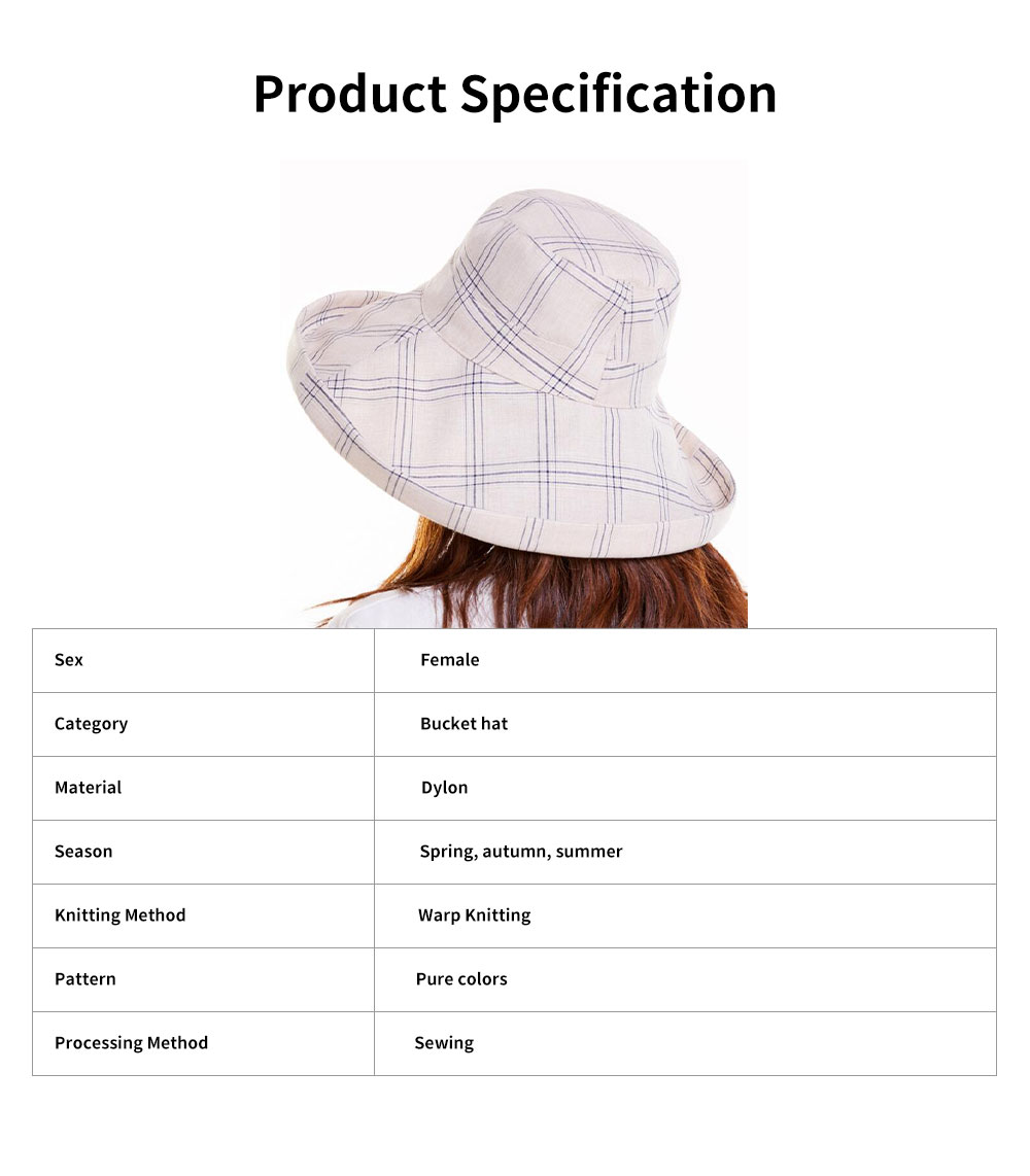 Summer Bucket Hat for Women Check Pattern Sun Hat Cap UV-protected Wind-proof & Sun-proof for Vacation Beach 6