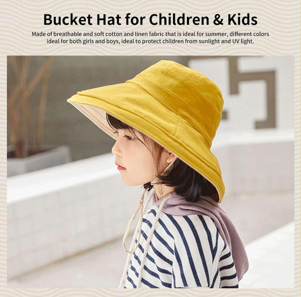 Sun-proof Bucket Hat for Children & Kids Cotton & Linen Spring Summer Sun Hat for Girls & Boys 0
