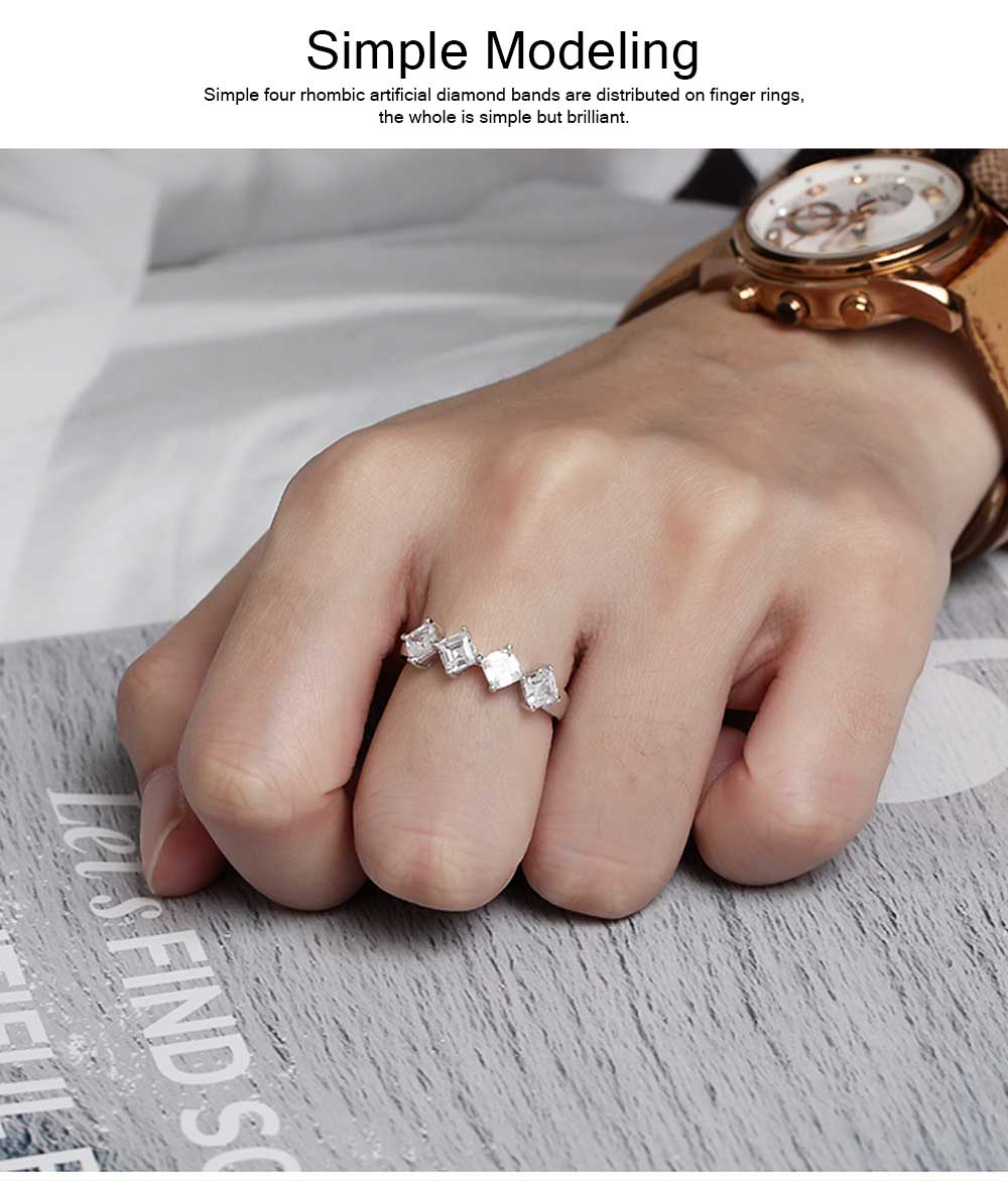 Delicate Creative Diamond Ring, Japanese and Korean Popular New S925 Zircon Ring with Simple Character 2