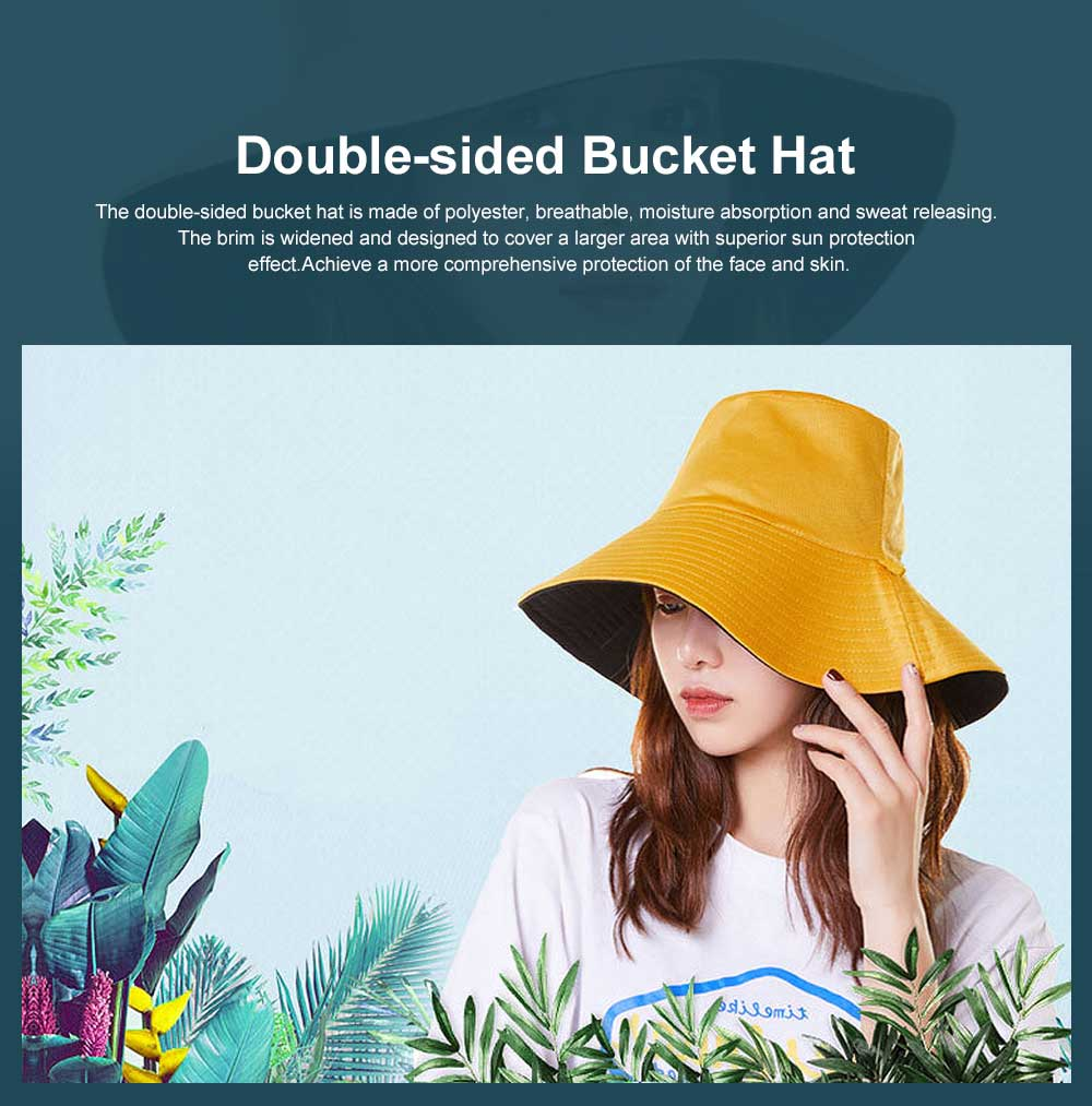 Double-sided Bucket Hat Polyester Ladies Korea Simple All-matched Big-brimmed Outdoor Sun Hat Spring Summer 0