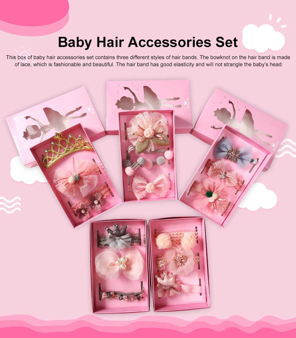 Girls Bow Headdress Lace Stylish Cute Headband Elasticity Children Crown Headband Set Baby Hair Accessories 0