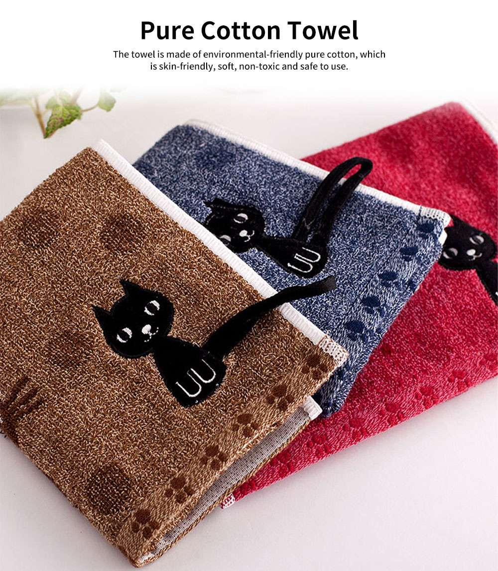 Pure Cotton Towel for Children & Kids Water Absorbent Facial Hand Towel with Cute Cartoon Pattern Soft Safe Small Little Towel 1