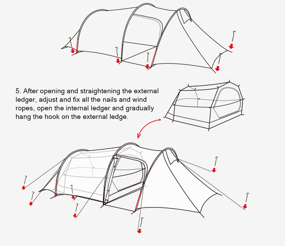 Naturehike Baros Ultra Light Tunnel Tent, Outdoor Double Mountain Camping Tent, One Room One Hall Suitable for Four Seasons 10