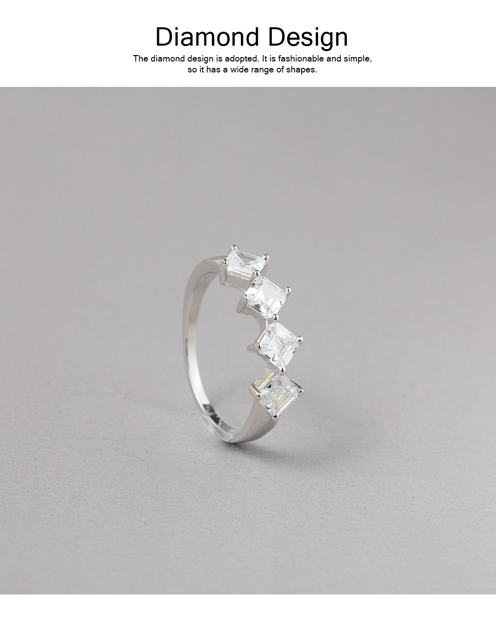 Delicate Creative Diamond Ring, Japanese and Korean Popular New S925 Zircon Ring with Simple Character 1