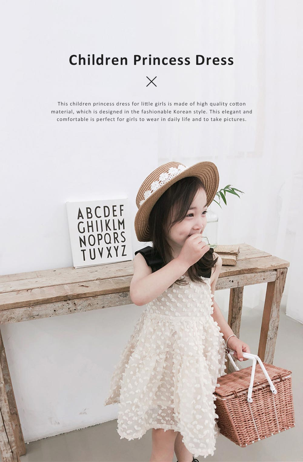 2019 Latest French Court Style One-piece Dress for Children, Sweet Cute Cotton Material Children Princess Dress 0