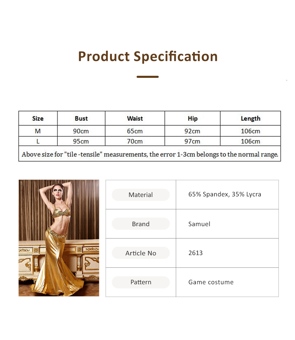 6013 Gold Mermaid Game Uniform Longuette with Glitter, European Style Costume for Stage Performing and Games Two-piece Dress 5