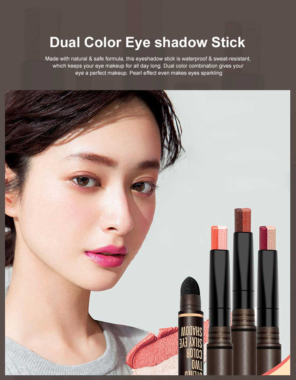 Portable Dual Color Eye shadow Stick Waterproof Long-Lasting Eye Makeup Stick Pearl Effect Cosmetic for Beginner 0