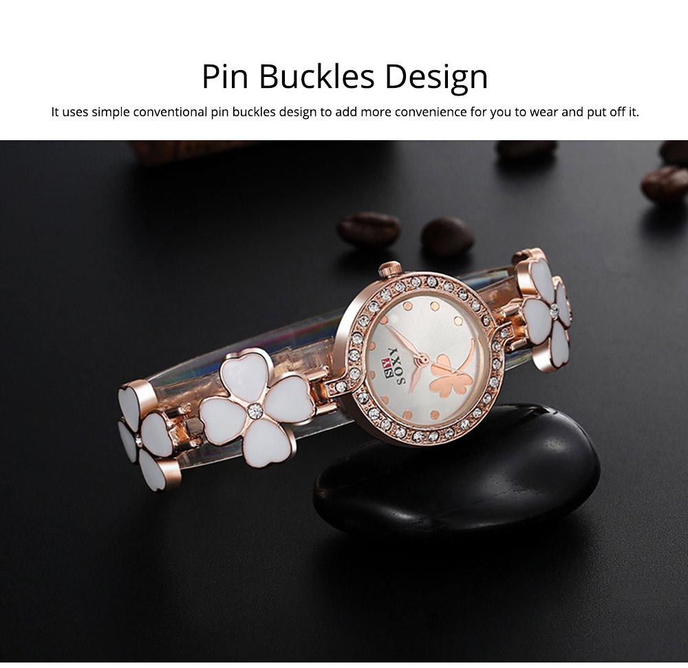 Four-leaf Clover Lady Watch Circular Dial Fashion Style Pin Buckles Stainless Steel Sturdy and Durable Ceramic Wristwatch 4