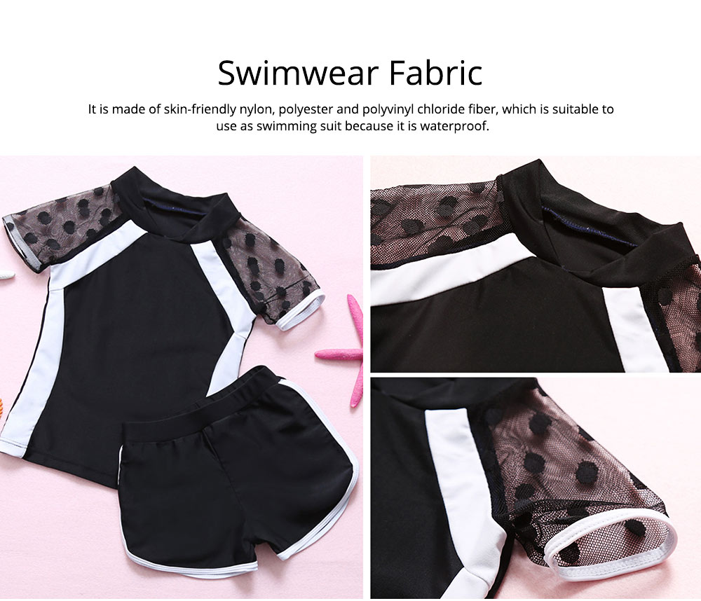 Two-piece Swimming Suit for Girls Wave Point Net Yarn Classic Color Separate Short-sleeve Swimwear 5