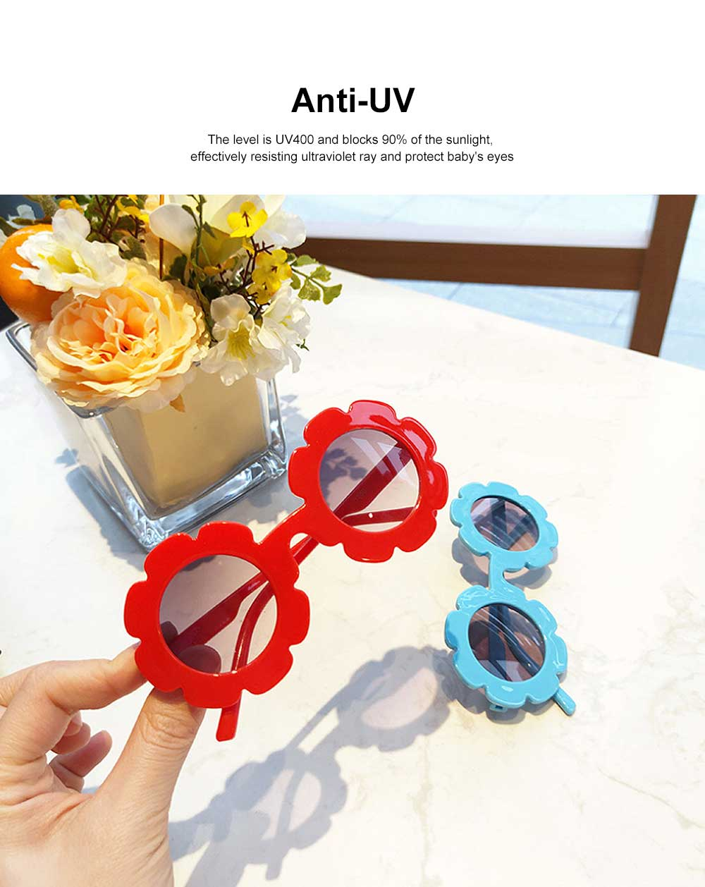 Baby Kids Vintage Flower Round Anti-UV Sunglasses Colorful Cute Eyewear for Party Photography Outdoor Beach 3