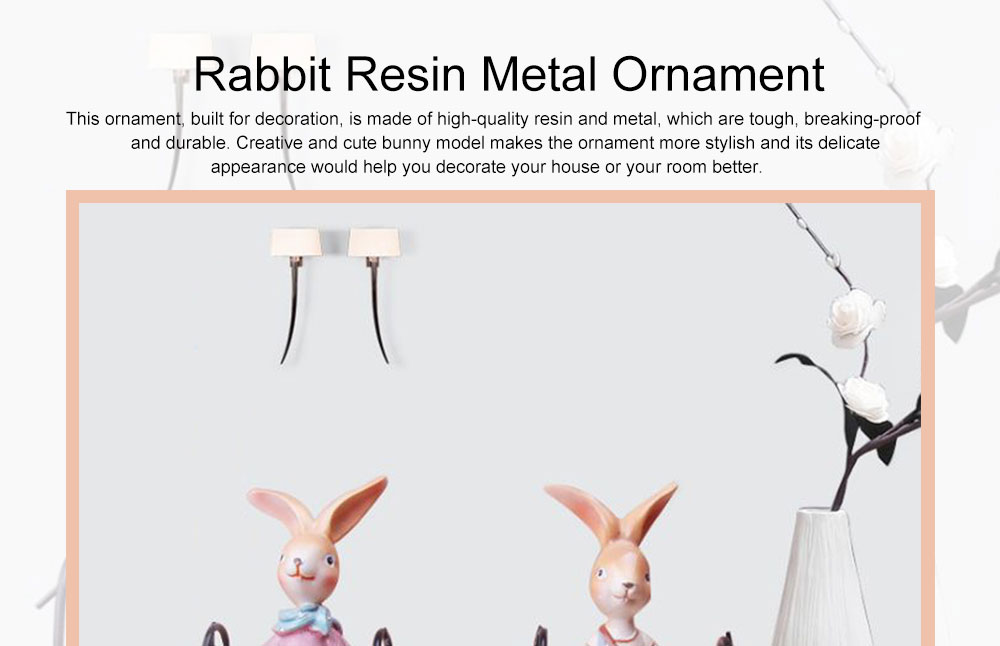 Creative Cute Delicate Rabbit Resin Metal Ornament Breaking-proof Bunny Living Room Study Table Decoration 0