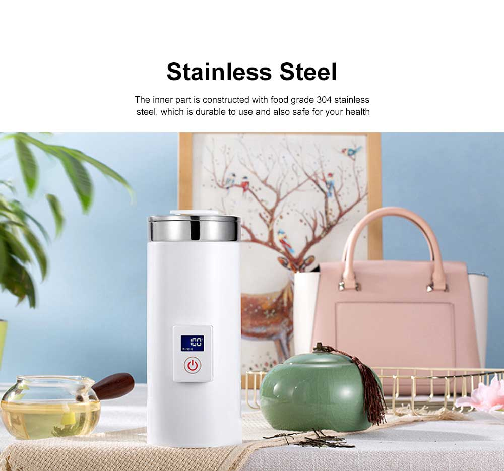 Portable Electric Kettle Cup Stainless Steel Water Boiler Durable Silicone Ring One Key Operation Coffee Milk Heating Container 4