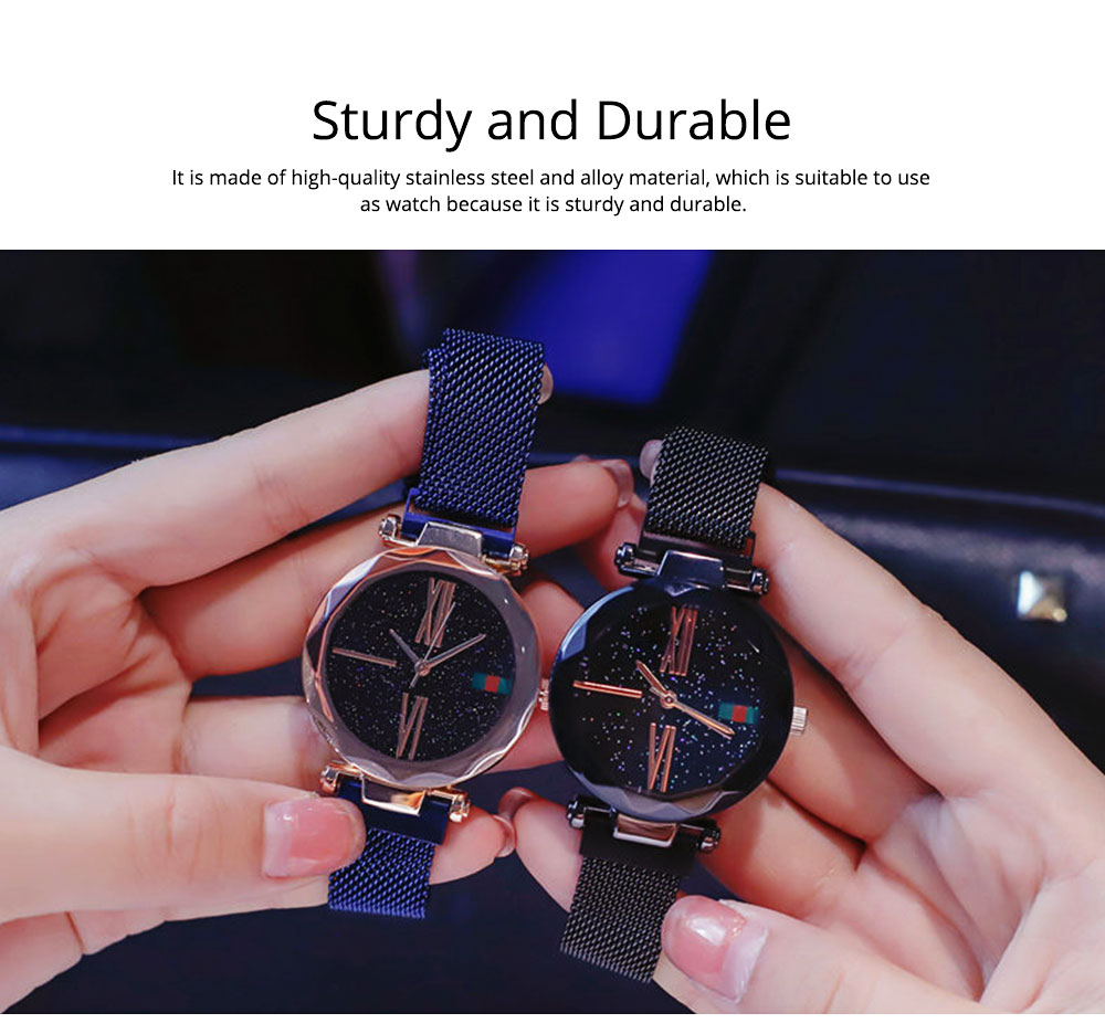 Starry Quartz Watch for Women Glass Dial Magnetic Design Quartz Movement Spiral Decoration Sturdy and Durable Watch 5