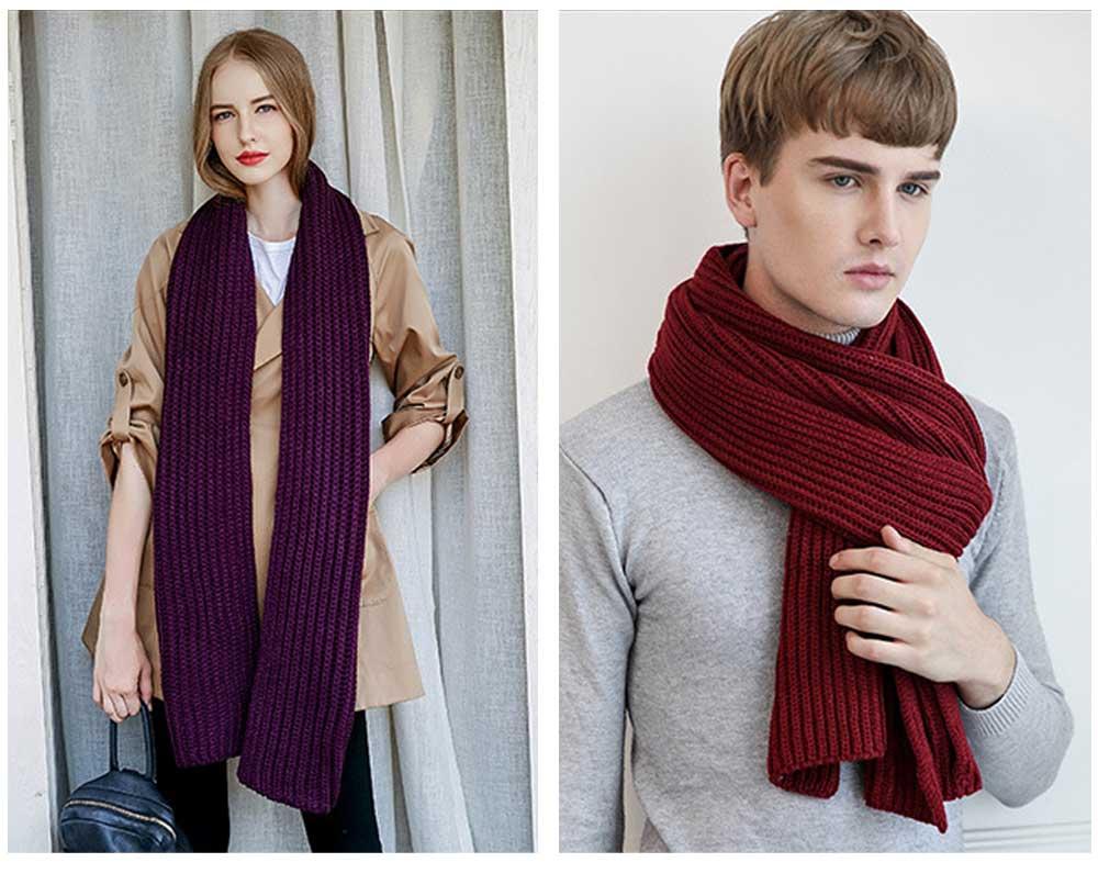 New Wool Scarf Soft Tippet Longitudinal Knitting for Women Men Keep Warm Skin-friendly Muffler Winter 6