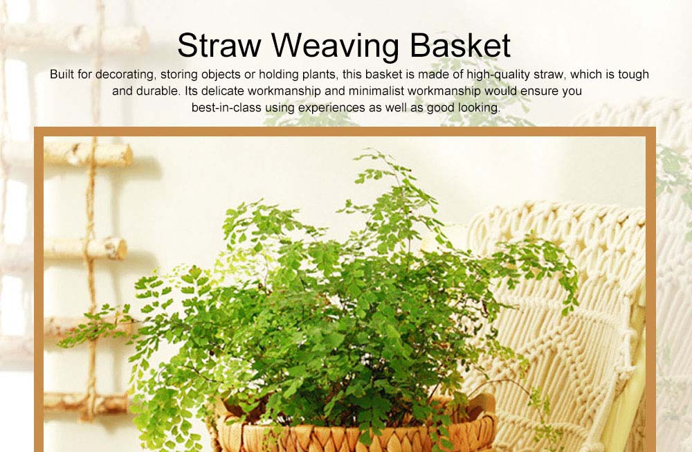 Creative Minimalist Garden Straw Weaving Flower Basket, Delicate Rattan Weaving Storing Basket Decoration with Double Handle 0