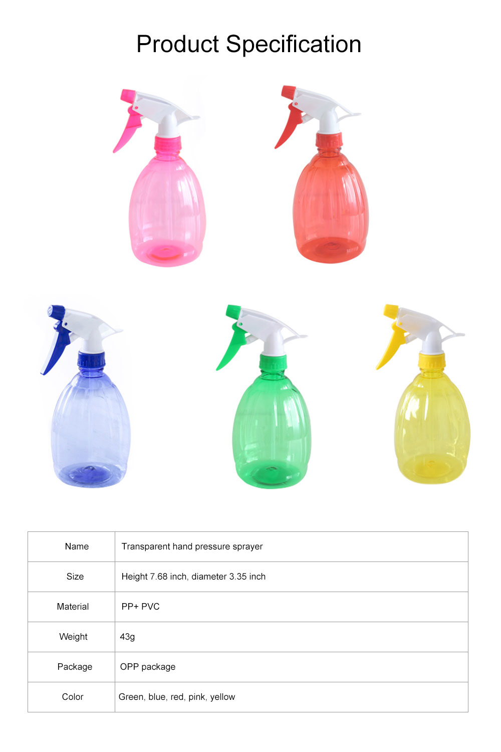 Minimalist Transparent Candy Color Hand Pressure Sprayer, Solid PP PVC Handheld Trigger Pump Watering Bottle 8