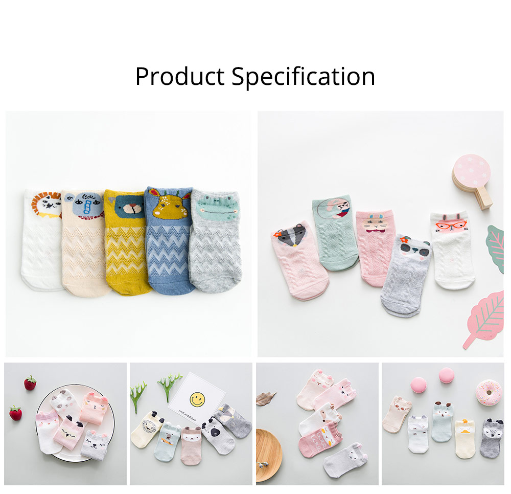 Spring and Summer Mesh Baby Socks Cartoon Breathing Thin Baby Socks, Loose-mouthed Neonatal Socks for 0-1 Year Baby 6