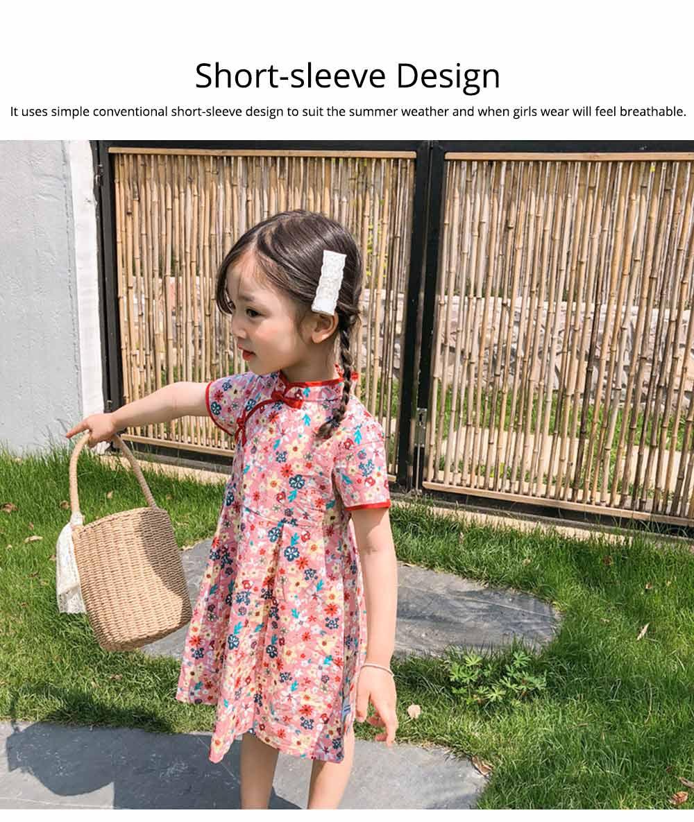 Girls Cheongsam Floral Print Retro Style Short-sleeve Skin-friendly Breathable One-piece Dress Summer 4