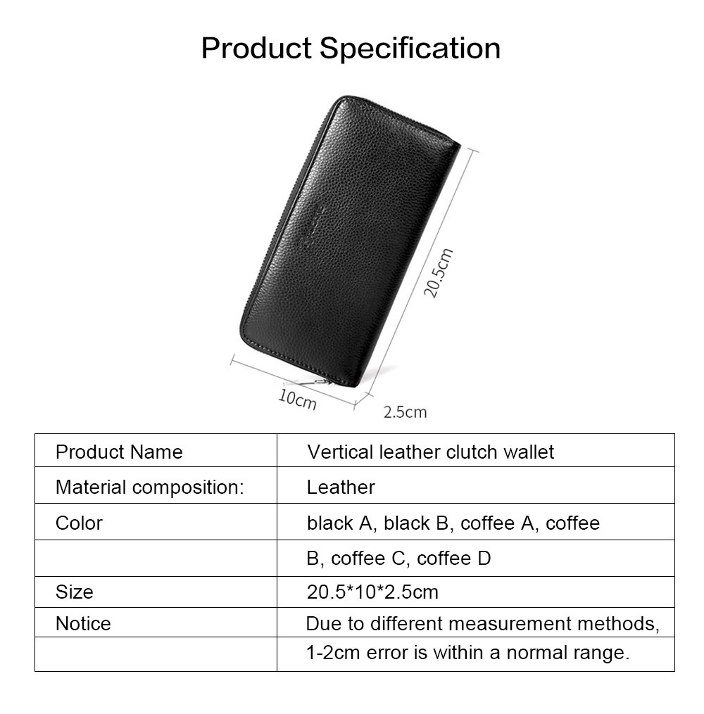Male Vertical Leather Wallet with Thin Zip European & American Fashion Multi-card Clutch Wallet , Wallets for Young Men 6