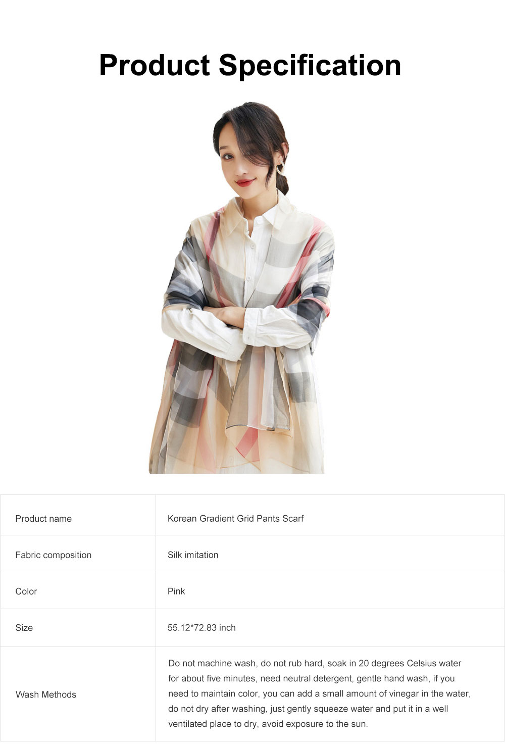 2019 Hot Gradient Grid Pants Scarf, New Sunscreen Scarf Shawl in Spring and Summer for Girl Lady 6