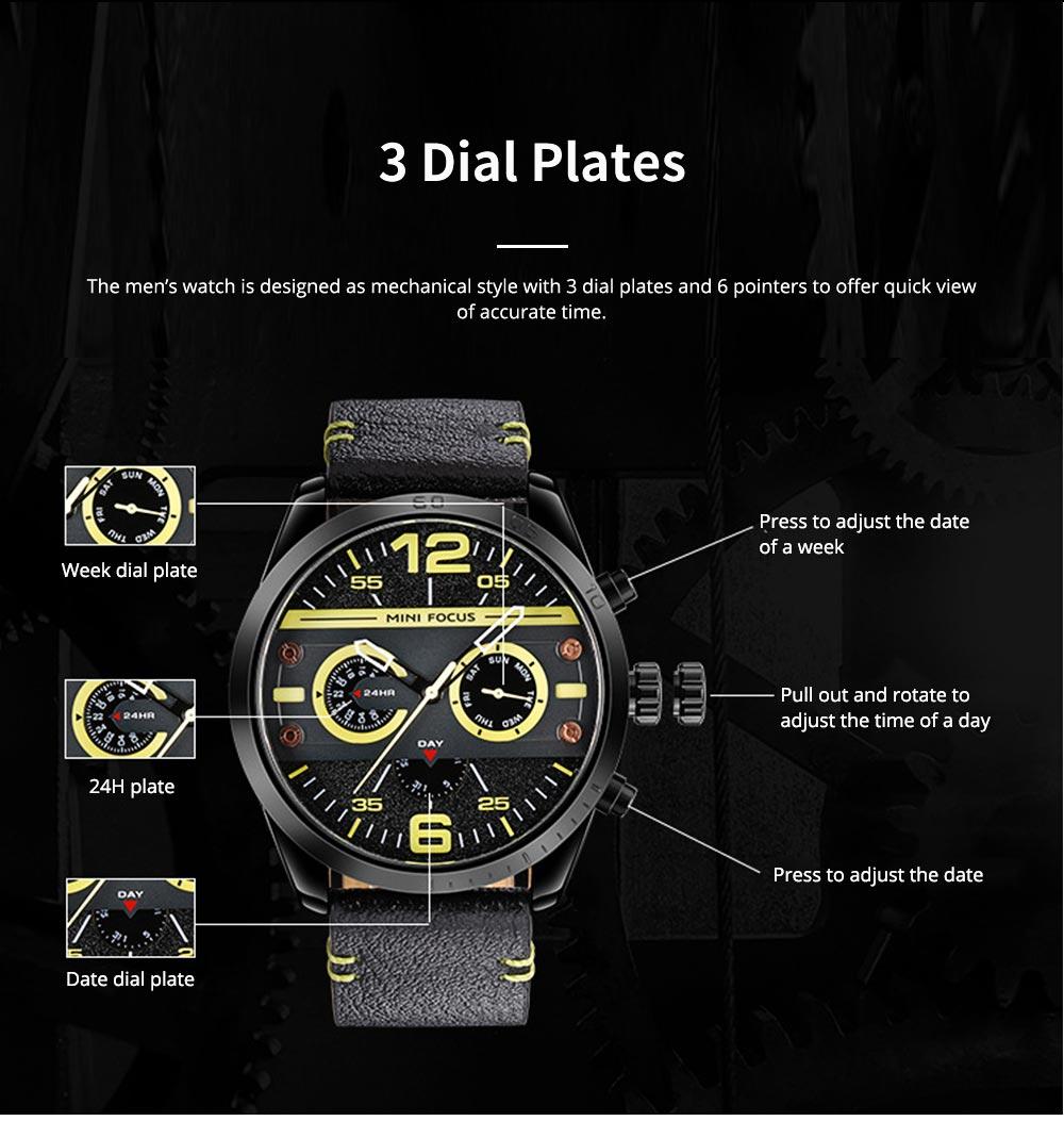 Mechanical Style Men's Quartz Watch Waterproof Businessman Watch Fashion Accessory 3 Dial Plates 6 Pointers Wrist Watch 2