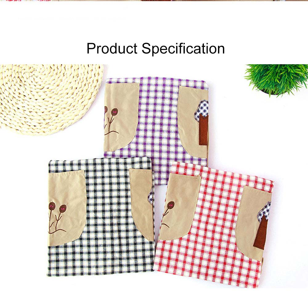 Cute Trees Embroidery Plaid Women Men Apron Dress, Home Kitchen Restaurant Antifouling Adjustable Apron with Pockets 8