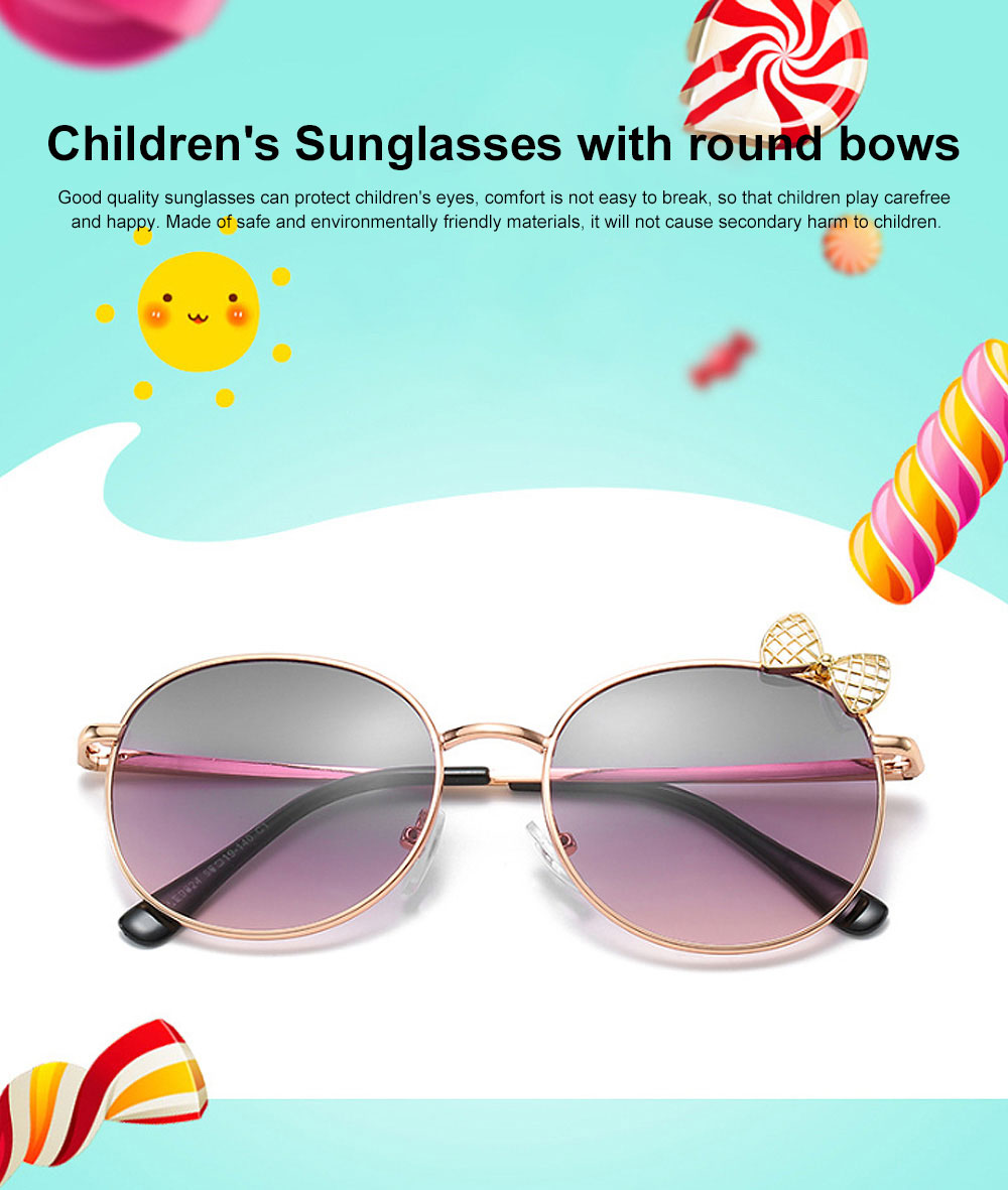 2019 Children's Sunglasses with Round Bows Cute Ocean Children's Sunglasses For Eye Protection Traveling 0