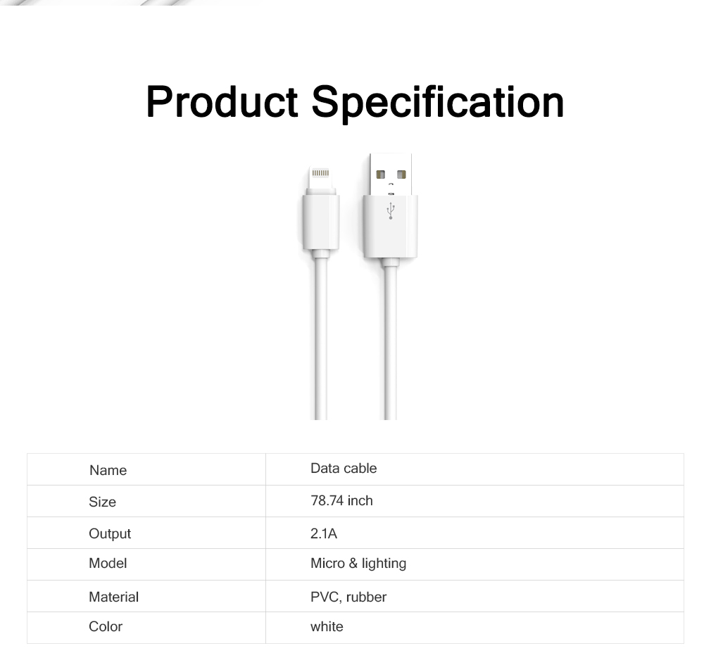 2M Micro USB Android iPhone PVC Rubber Data Cable Accurate Fit Speed Transfer Mobile Phone Data Wire 6
