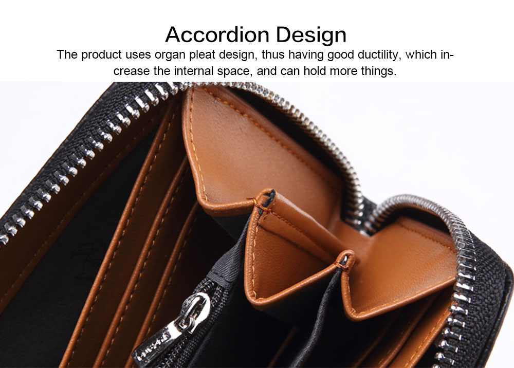 Male Vertical Leather Wallet with Thin Zip European & American Fashion Multi-card Clutch Wallet , Wallets for Young Men 3