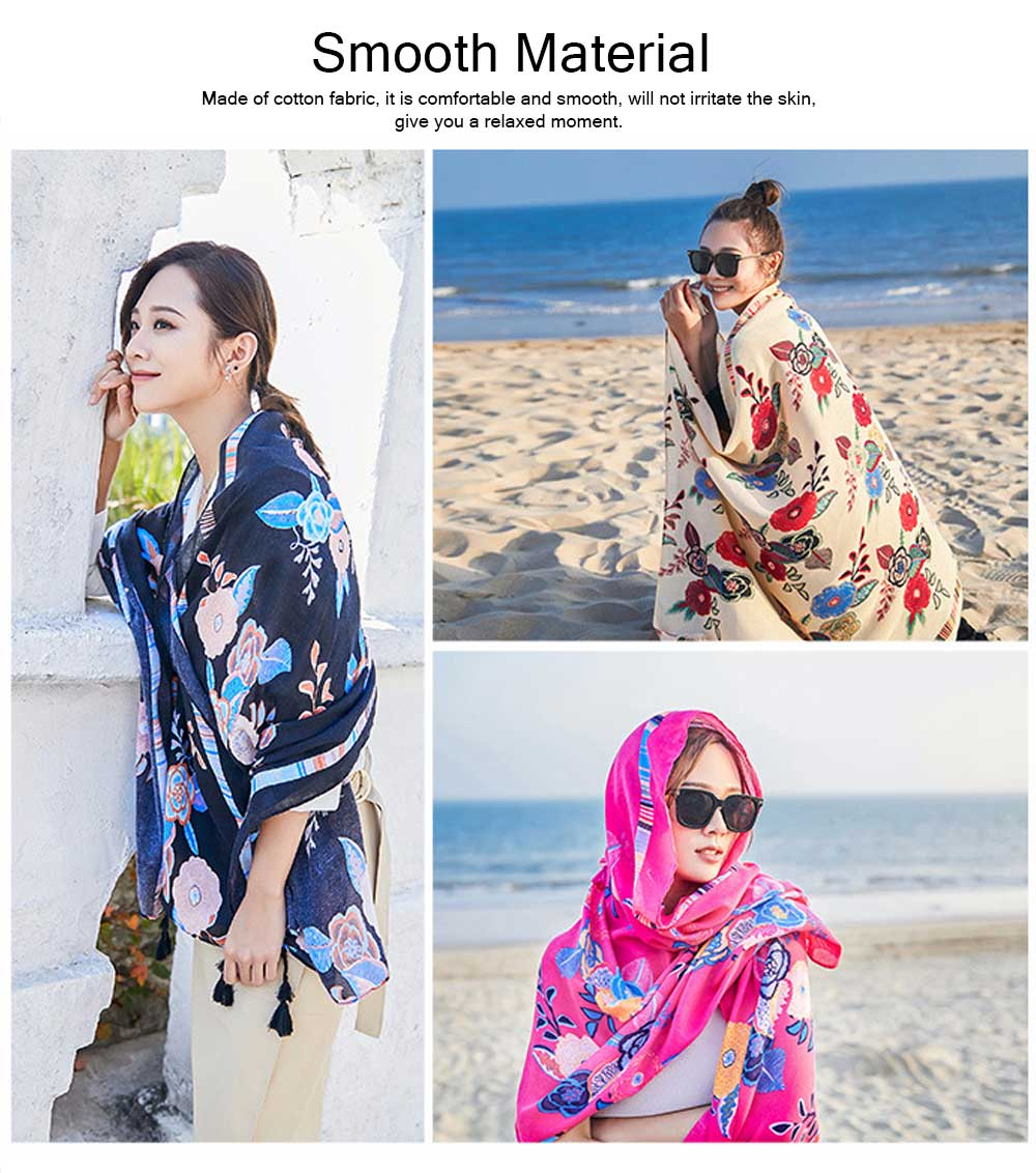 2019 Spring Summer Tippet Cotton-linen Material Peony Pattern Shawl Soft Scarf Sunscreen for Women Men Keep Warm Skin-friendly Muffler 1