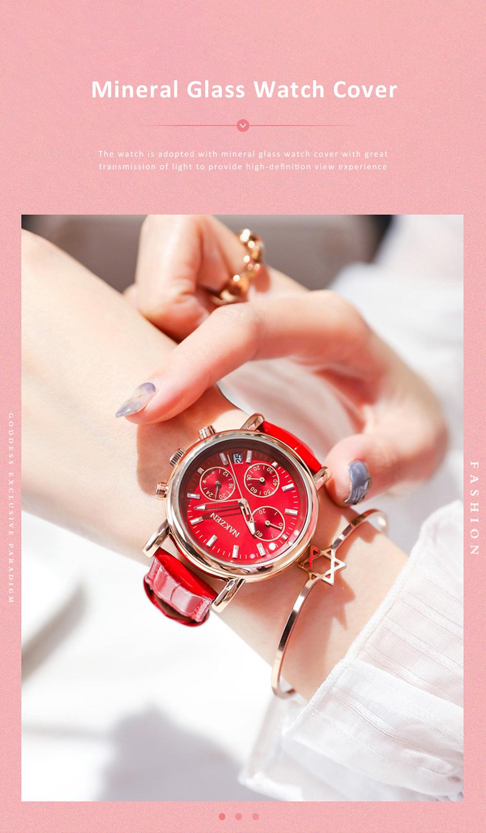 Fashion Women Watch Japanese Quartz Movement Wrist Watch with Calendar Genuine Leather Watch Strap Quartz Watch 1