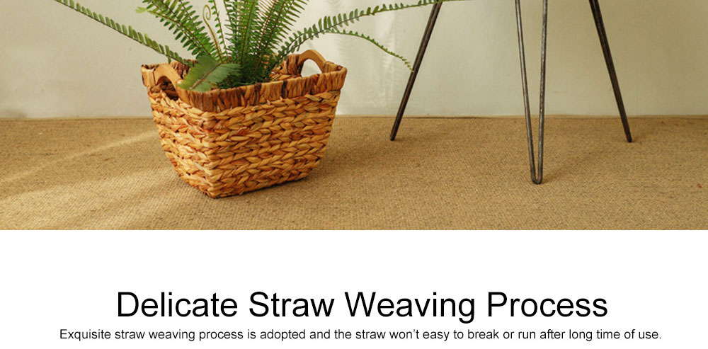 Creative Minimalist Garden Straw Weaving Flower Basket, Delicate Rattan Weaving Storing Basket Decoration with Double Handle 3