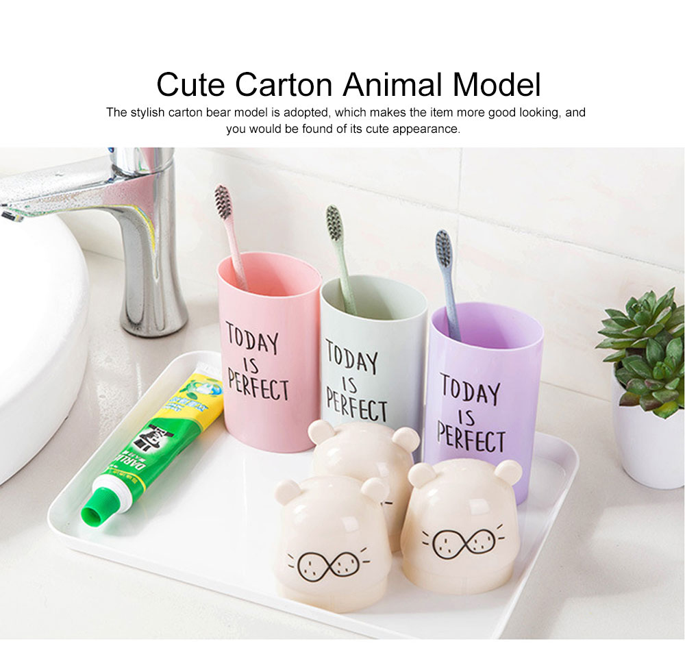 Cute Carton Portable Travel Toothpaste Toothbrush Holder, Breaking-proof PP Outdoors Toiletries Storage Case Cup 2