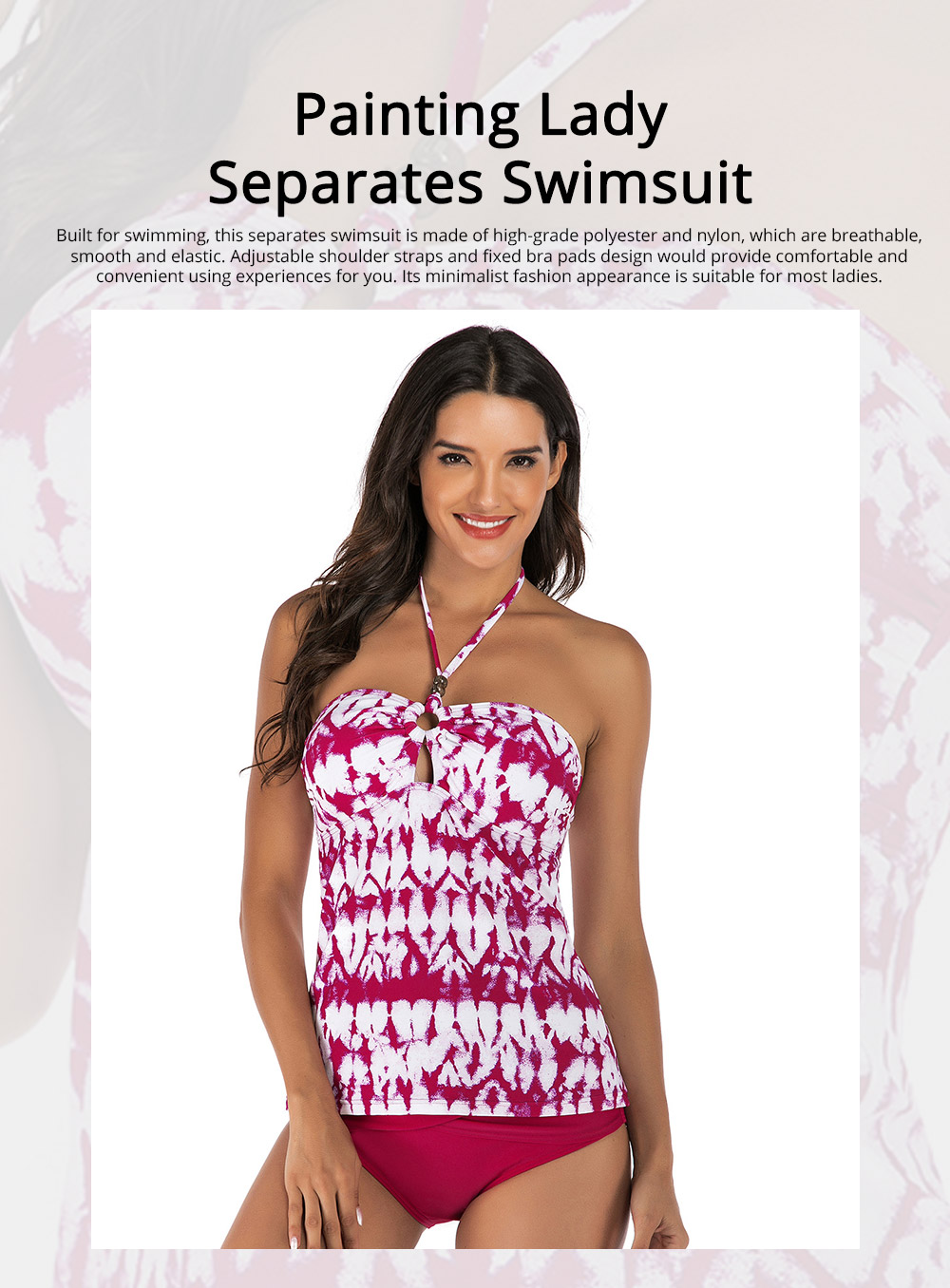 Fancy Sexy Painting Separates Adjustable Strap Swimsuit Bikini Stylish Triangle Swim Briefs Ladies Bikini 0
