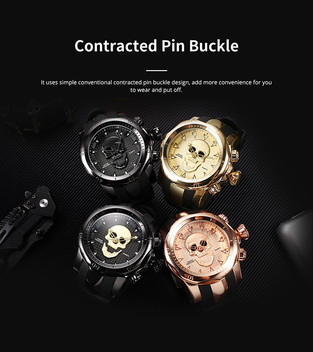 Skull Wrist Watch for Men Rotatable Circle Rubber Strap Contracted Pin Buckle Stainless Steel Sturdy and Durable Personality Watch 4