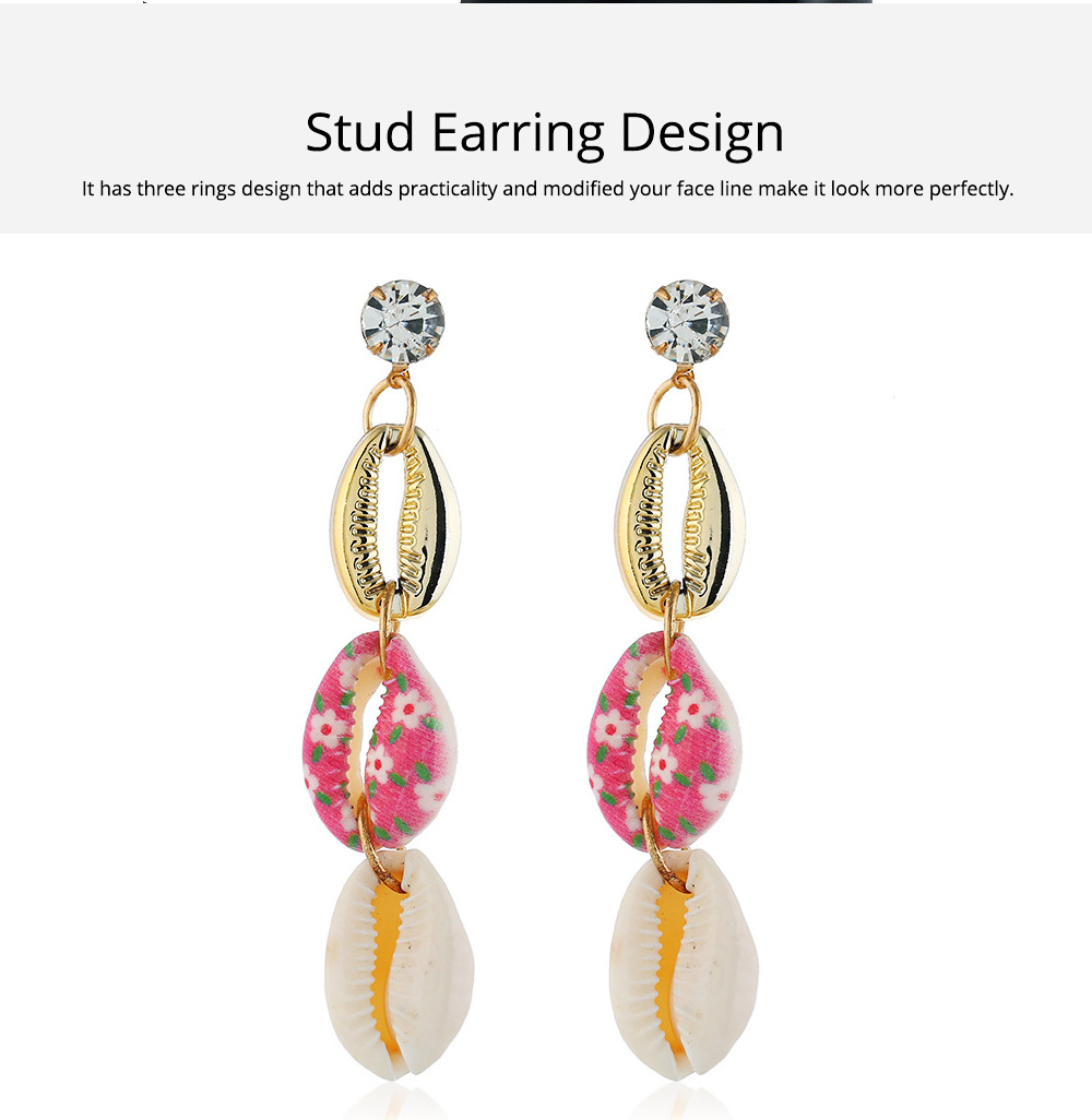 Long Conch Earrings for Women Colorful Option Set Auger Design Western Style Multilayer Colored Shell Stud Earring 2
