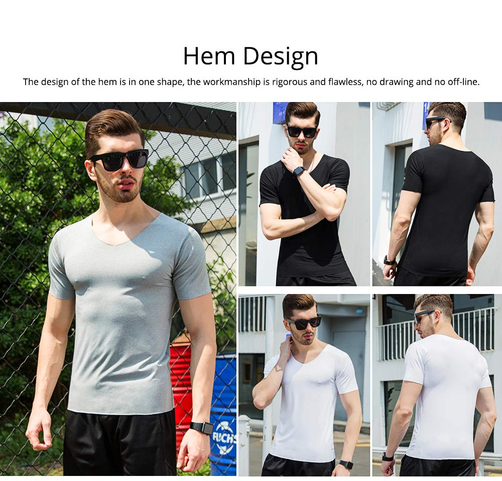 Summer Quick-drying Ice Silk T-shirt for Men, Men's Short Sleeve Leisure Self-cultivation V-neck Quick-dry Undercoat 5