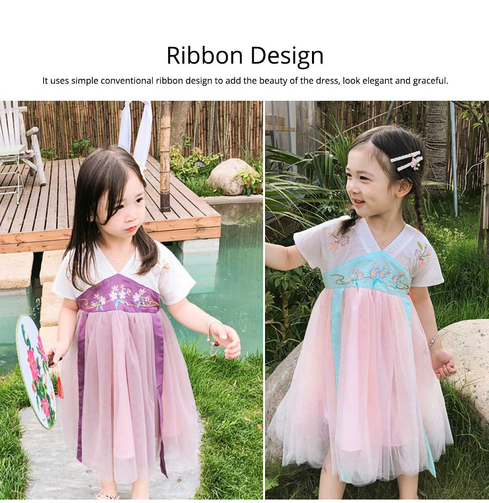 Han Chinese Clothing for Girls V Collar Flower Adornment Ribbon Chinese Characteristics Skin-friendly and Comfortable Dress 4
