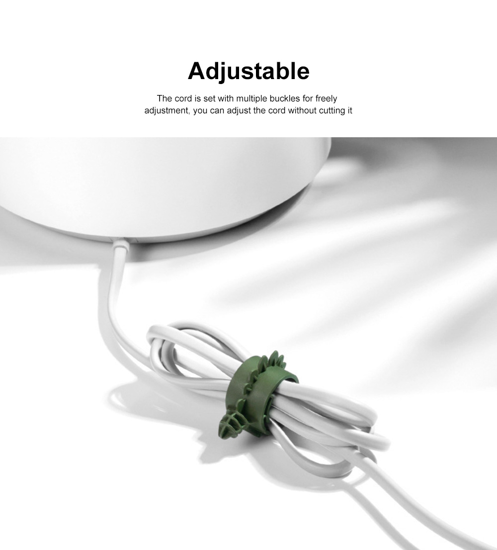 4PCS Cute Dinosaur Cord Organizer Adjustable PA Cable Wire Storage for Home, Office, Travel 4