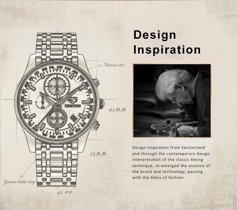 Men's Quartz Watch Multifunctional Waterproof Wrist Watch Scratch Proof Fashion Accessory Watch 1