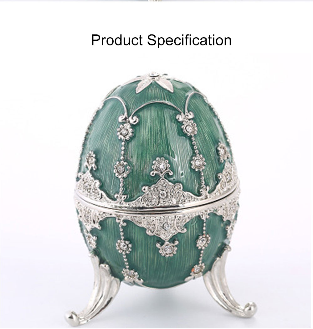 Delicate Green Blue Colored Painting Rhinestone Decorative Ornament Quality Easter Egg Decoration Model Jewelry Storing Box 6