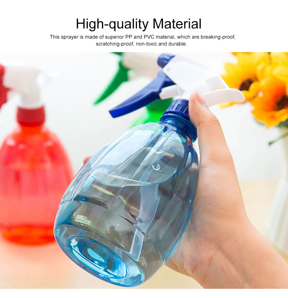 Minimalist Transparent Candy Color Hand Pressure Sprayer, Solid PP PVC Handheld Trigger Pump Watering Bottle 1