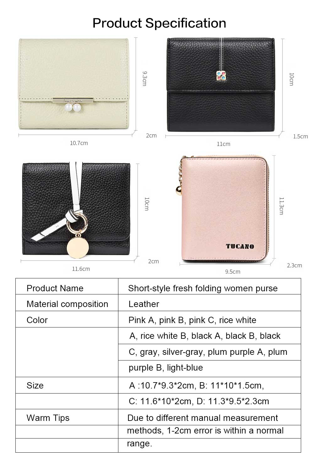 2019 New Designed Women Purse New Designed INS Purse Short-style Fresh Folding Purse for Women Lady Girl 6