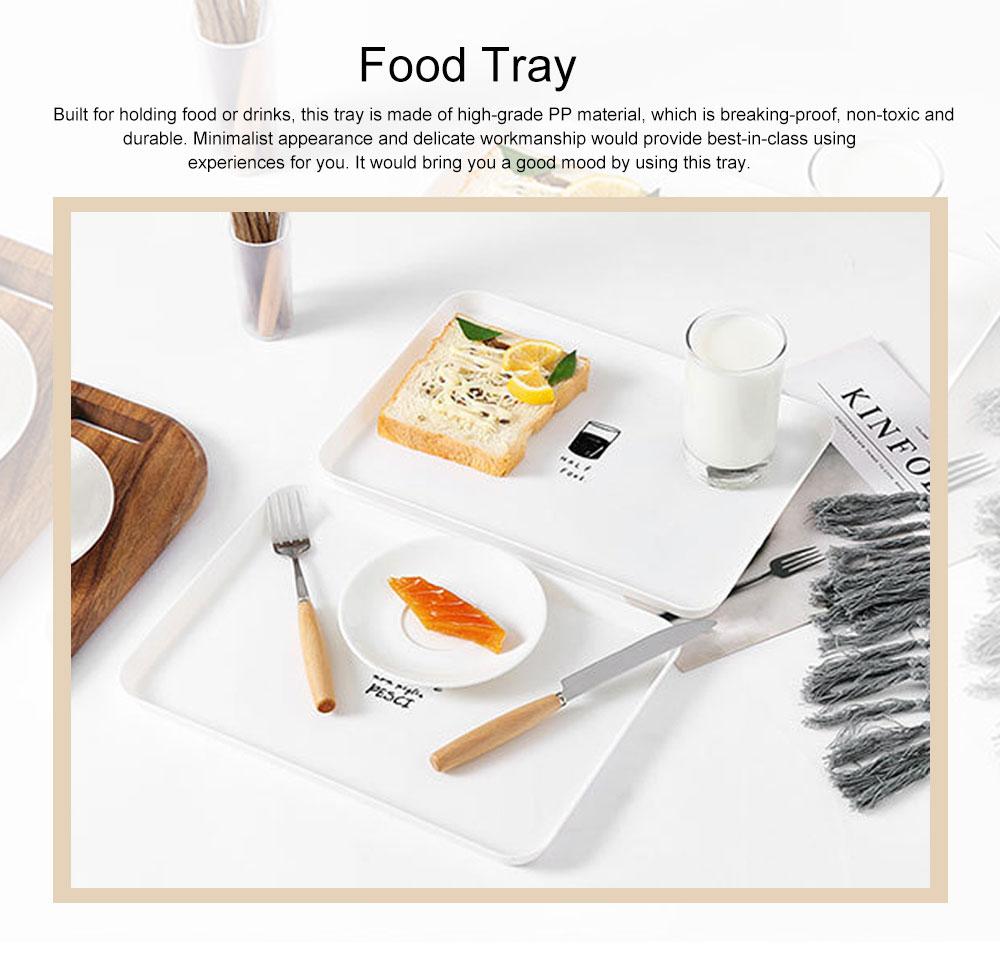 Minimalist Rectangle Household Breakfast Food Tray Breaking-proof PP Tea Bread Drink Decoration Tray 0