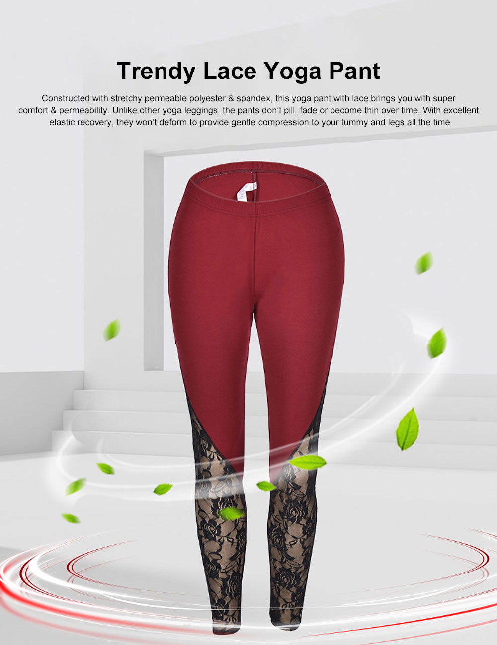 Trendy Lace Yoga Pant Fast-Dry Soft Polyester Trousers Elastic Waistband Breathable Sport Wear Pants for Women Lady 4 Colors 0